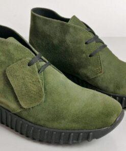 Sneakers in camoscio verde