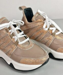 Sneakers in pelle cipria con inserti laminati