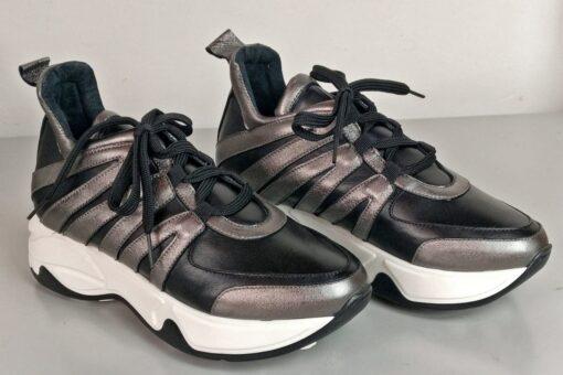 Sneakers in pelle nero con inserti vitello canna di fucile