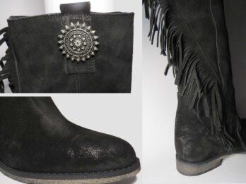 Stivali camoscio nero con zeppa interna e tacco 50