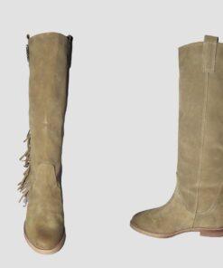 Stivali camoscio sabbia con zeppa interna e tacco 50
