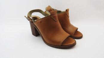 Sandali in pelle spuntati cuoio tacco 80