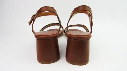 Sandali tacco largo cavallino maculato cuoio