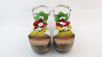 Sandali in pelle bianco multicolor