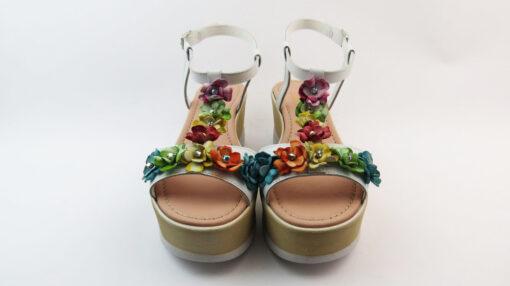 Sandali in pelle bianco multipaste
