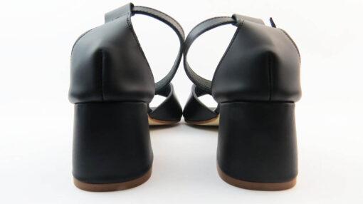 Sandali tacco largo nappa nero con cinturino