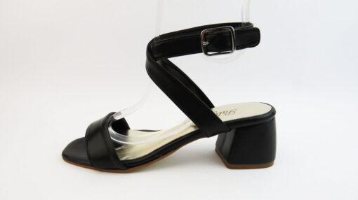 Sandali tacco largo in pelle nero con cinturino