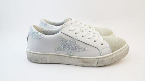 Sneakers con stella glitter bianco