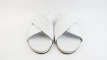 Ciabatte incrociate in pelle nappa bianco