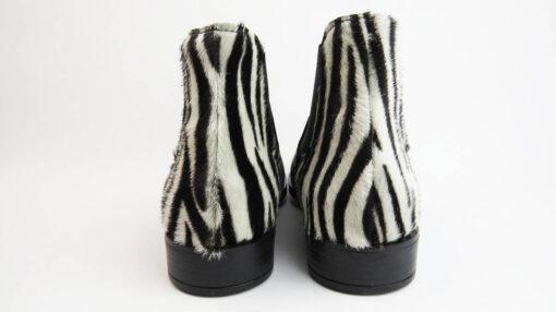 Stivaletti Beatles vitello nero con inserto cavallino zebrato