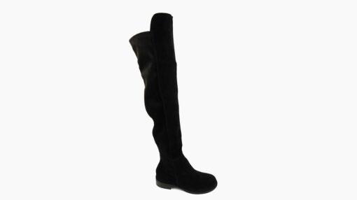 Stivali alti elasticizzati in camoscio nero