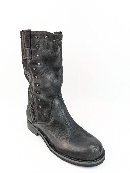 Stivali bassi in pelle nabuk impreziositi da borchiette e zip laterale colore nero con tacco 2
