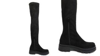 Stivalialti elasticizzati sopra il ginocchio in camoscio nero e tessuto