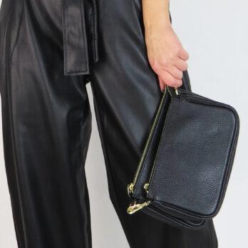 Pochette a tracollacon mini pochette e portamonete rotondo in vera pelle colore nero