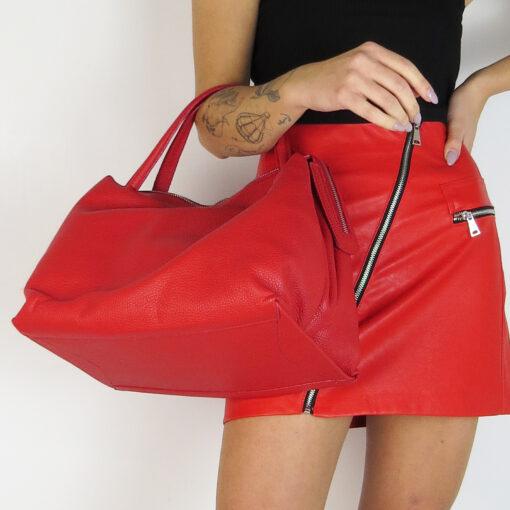 Borsa bauletto in vera pelle colore rosso