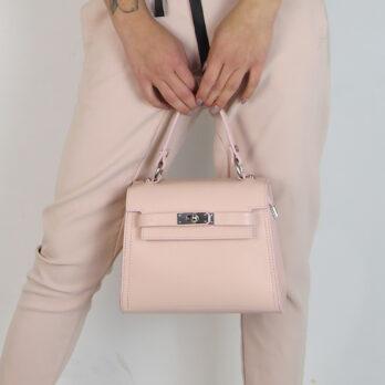 Borsa Kelly piccola in vera pelle colore rosa