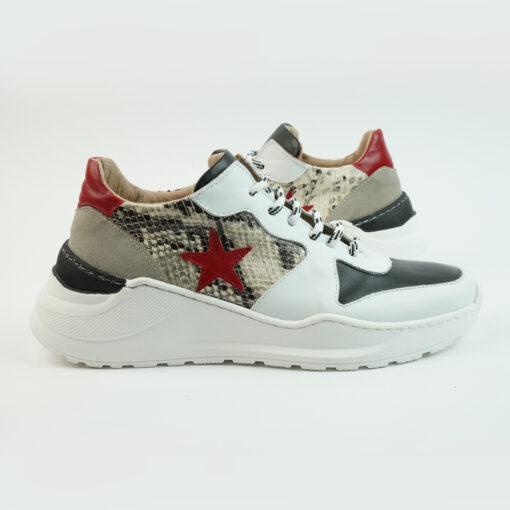 Sneakersrunning con suola big colore bianco con stella laterale rossa