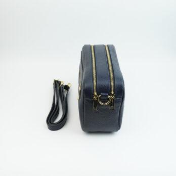 Borsa a mano in vera pelle con tracolla con zip colore blu