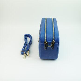 Borsa a mano in vera pelle con tracolla con zip colore blu elettrico