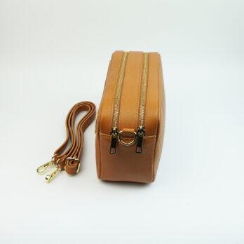 Borsa a mano in vera pelle con tracolla con zip colore cuoio