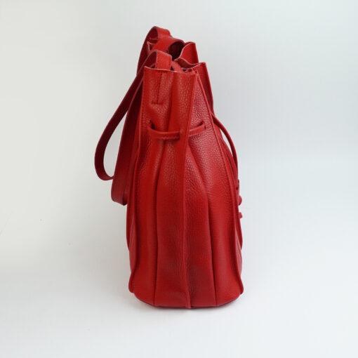 Borsa secchiello in vera pelle con tracolla colore rosso