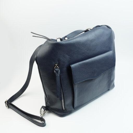 Borsa sacca zaino in vera pelle con zip e tasca anteriore e zip posteriore colore blu
