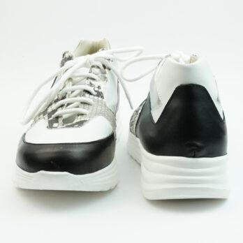 Sneakersrunning in vitello nero con inserti bianco, argento e stampa pitone roccia
