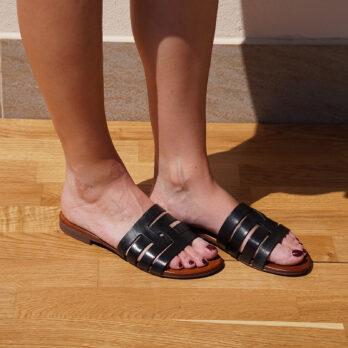 Ciabatte in vera pelle da passeggio fasce intrecciate colore nero tacco 1 cm