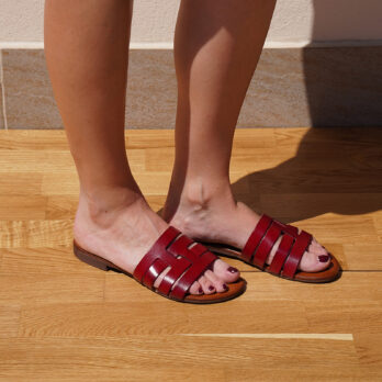 Ciabatte in vera pelle da passeggio fasce intrecciate colore rosso tacco 1 cm