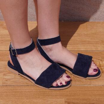 Sandali bassi in camoscio con cinturino colore blu tacco 1 cm