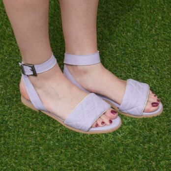 Sandali bassi in vera pelle con cinturino colore glicine tacco 1 cm