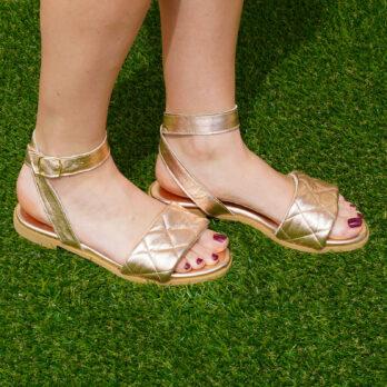 Sandali bassi in vera pelle con cinturino colore rame tacco 1 cm