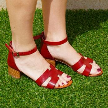 Sandali acca in vera pelle con cinturino colore rosso tacco 4 cm