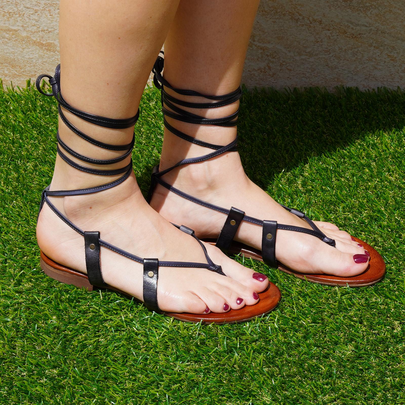Sandali alla schiava pacha in vera pellecolore nero tacco 1 cm