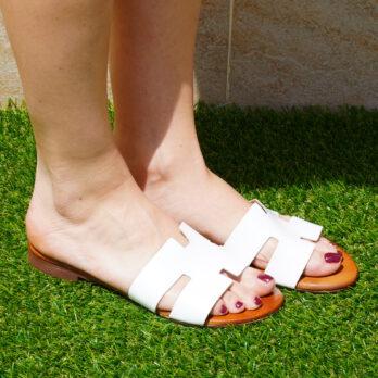 Ciabatte acca in vera pelle da passeggio colore bianco tacco 1 cm