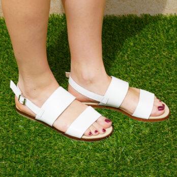 Sandali frate in vera pelle con cinturino colore bianco tacco 1 cm