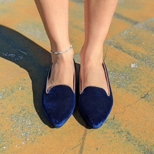 Mocassinidonnain vera pelle e velluto colore blu