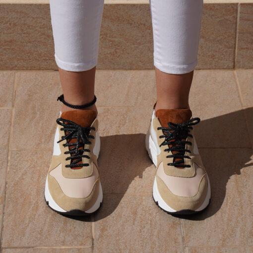 Sneakers donna in pelle colore bianco con inserto camoscio sabbia e cuoio
